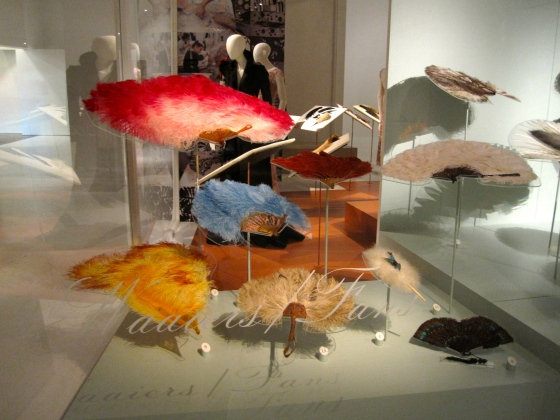 Assortment of feather hand fans