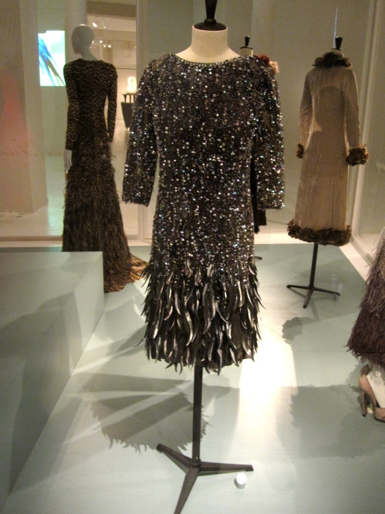 Cristobal Balenciaga, Haute Couture Autumn-Winter 1965-1966; Dress of silk organza and silk satin, bead embroidery with sequins, rhinestones and rooster feathers