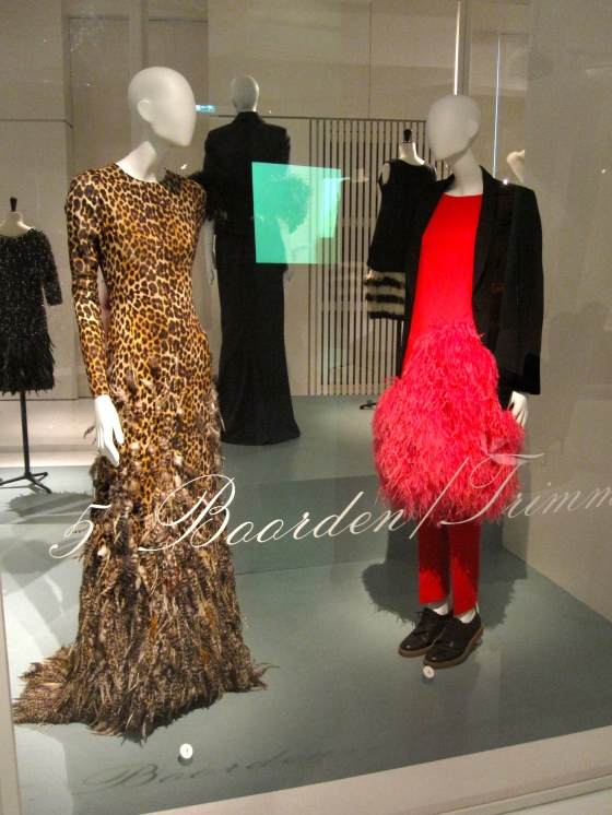 Left: Giambatista Valli, Haute Couture Autumn-Winter 2011-2012; Dress in silk crepe with leopard print, the skirt embellished with applied pheasant feathers Right: Dries Van Noten, Autumn-Winter 2013-2014; Skirt covered with dyed ostrich feathers