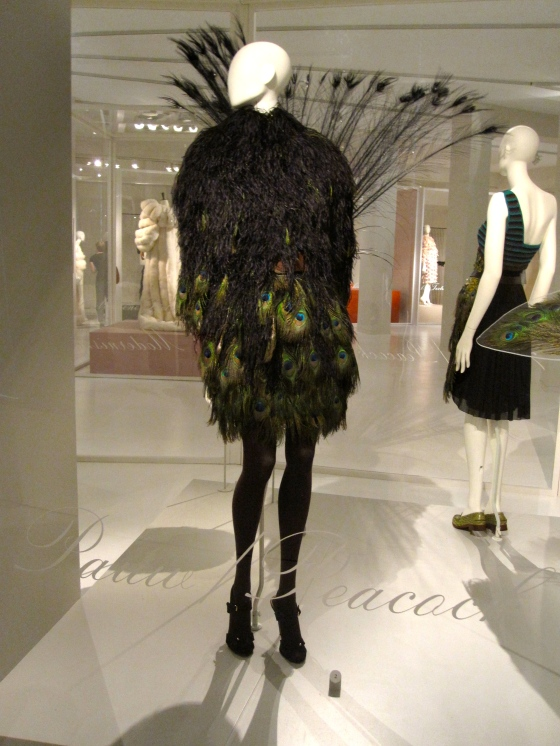 Giambatista Valli, Autumn-Winter 2009-2010; Silk dress fully covered with dyed ostrich and peacock feathers