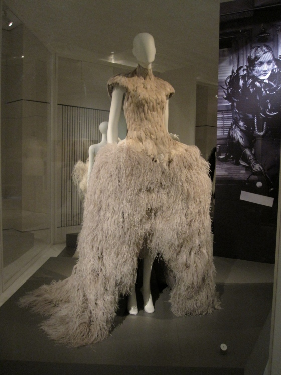 Alexander McQueen by Sarah Burton, Spring-Summer 2011; Dress with bodice in goose feathers and skirt in ostrich feathers; Front