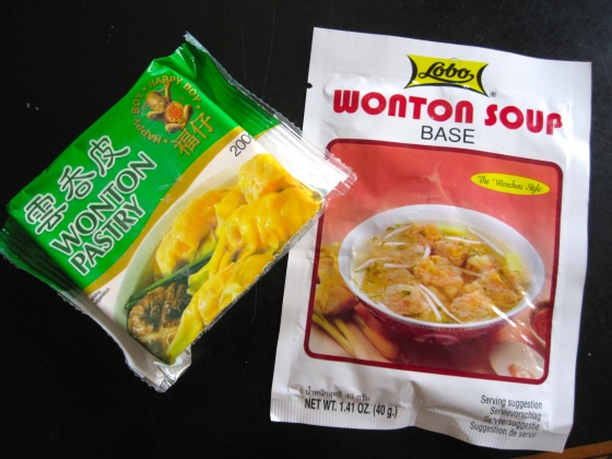 Wonton pastry and soup broth