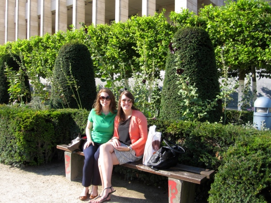 Claire and me waiting for the museum to open in the Mont des arts