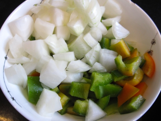 Onions and green bell pepper