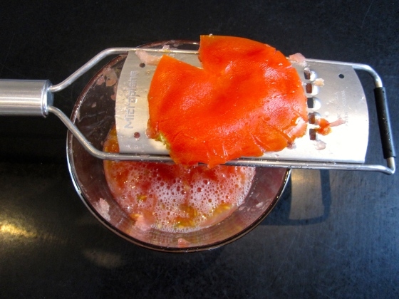 Grated tomato - I needed everything except the skin