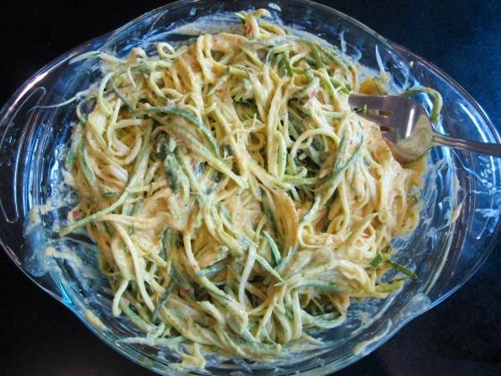 Mint & Mango Marinated Zucchini Spaghetti