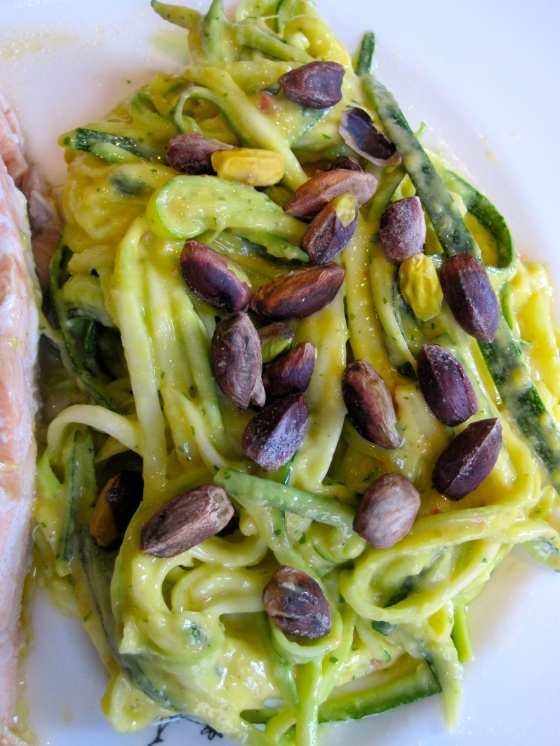 Mint & Mango Marinated Zucchini Spaghetti topped with Pistachios