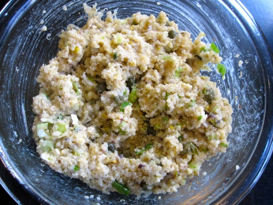 The filling - quinoa, goat cheese, pistachios, oregano, green onions, garlic, and capers