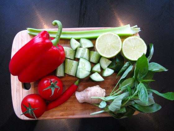 The other ingredients: red bell pepper, tomatoes, chili pepper, ginger, cucumber, celerly, basil and lime