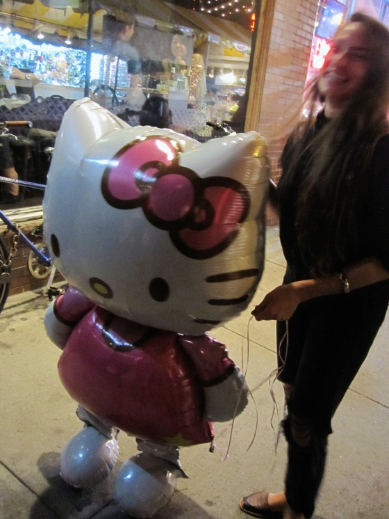 Natalie with the giant Hello Kitty balloon!