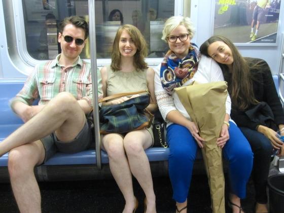Koen, Meredith, Christina, and me on the subway