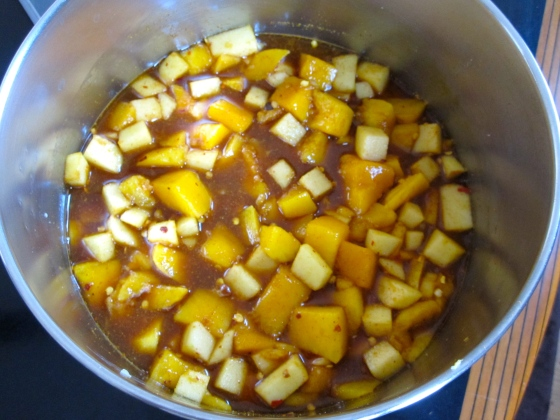 Next add the mango and let simmer for 40 minutes