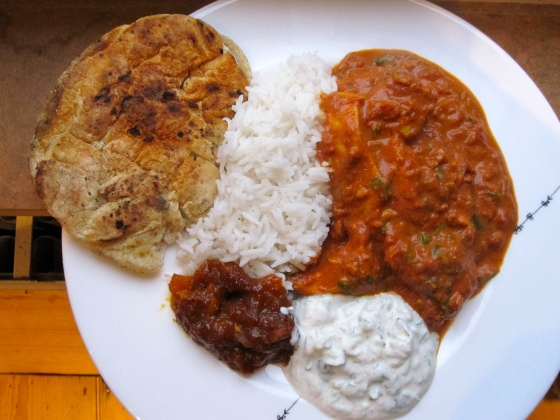 And the result - our Indian feast! Naan, rice, chicken tikka masala, raita, and mango chutney.