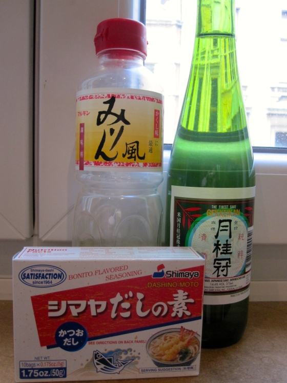 My almost empty bottle of mirin, sake, and dashi broth