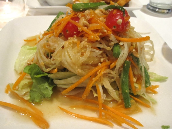 My papaya salad - Green papaya, carrot, tomato, peanut, string bean and lime dressing