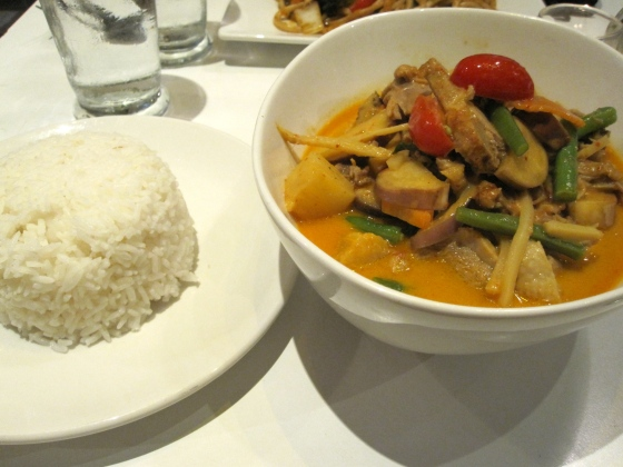 Koen went with a daily special - a wok dish with duck, vegetables, and rice