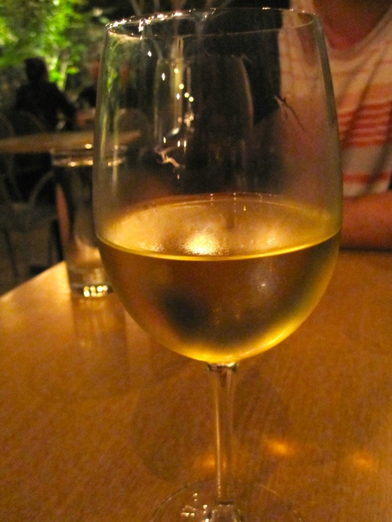 My glass of Steele Shooting Star, Aligote [Washington State 2012], notes of caramel, baked apple, stone fruit; smooth & rich