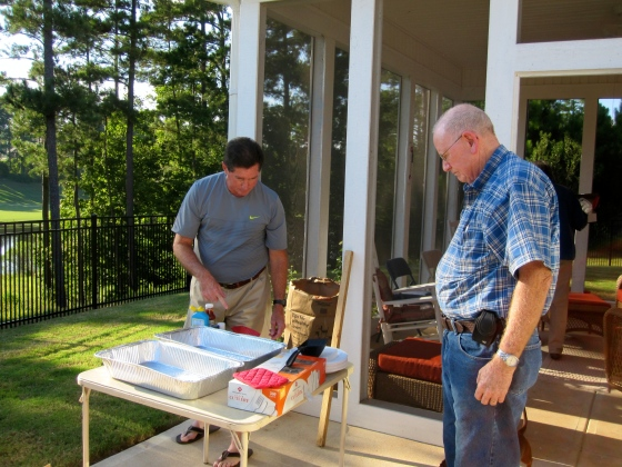 Dad and Grandpa setting up the low country boil
