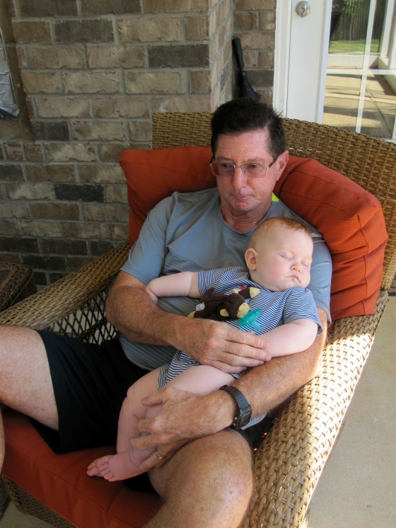 Edward napping with Grandpa
