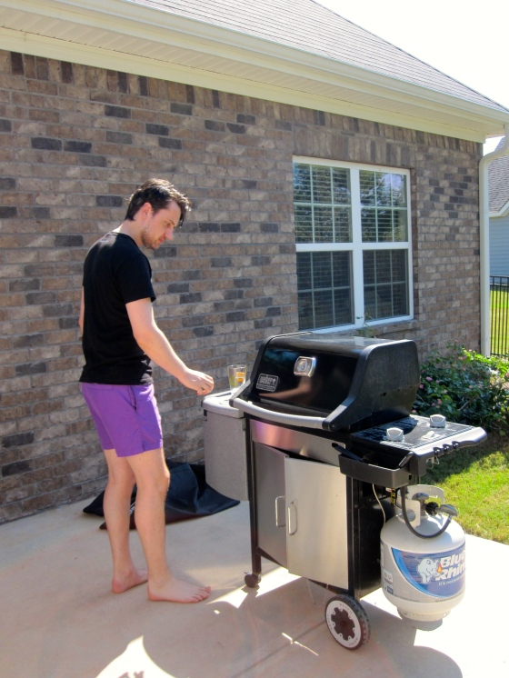 Grilling our steaks