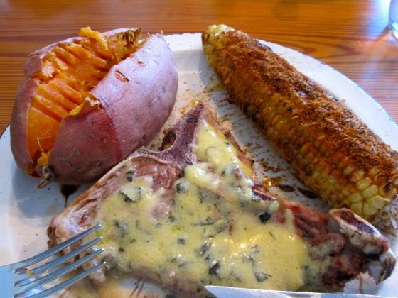Mmm...steak with bearnaise sauce, sweet potato, and Mexican street corn