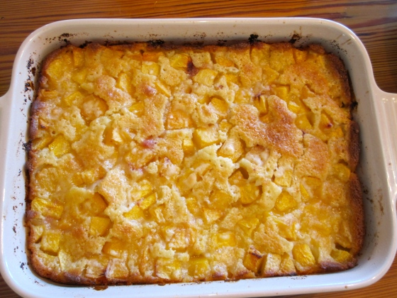 Peach cobbler fresh out of the oven