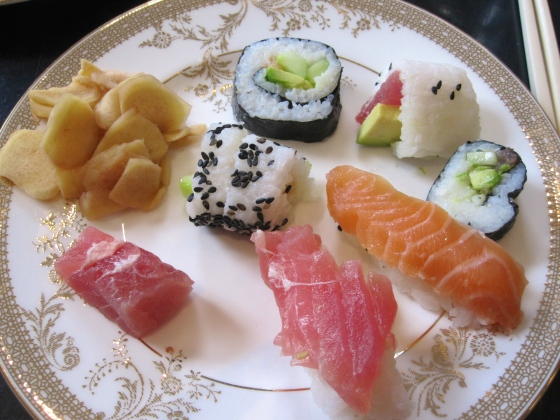 Homemade sushi assortment with pickled ginger