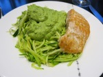Zucchini noodles with avocado cream sauce and salmon