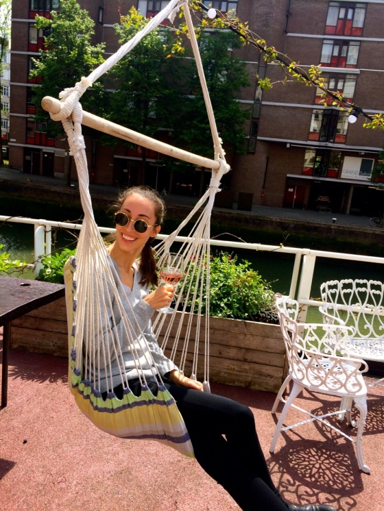 Christina in a swing seat