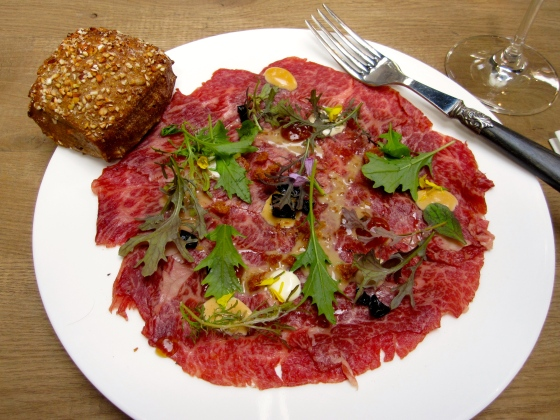 2: Wagyu carpaccio with candied olives