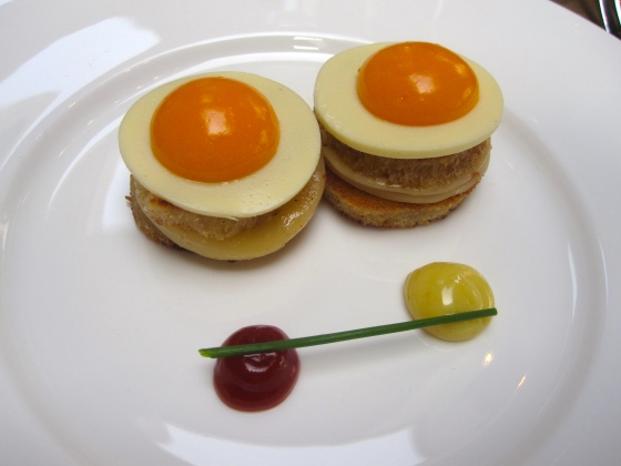 Croque Madame with slow cooked egg yolk and jellied sour cream