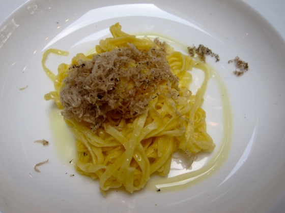 Fresh pasta with Spanish olive oil and shaved summer truffle