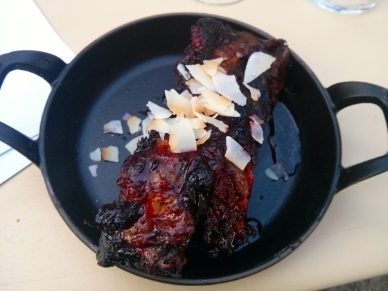 #6: Beef Ribs Smoked in Turf with Red Beet Glaze and Coconut Shavings
