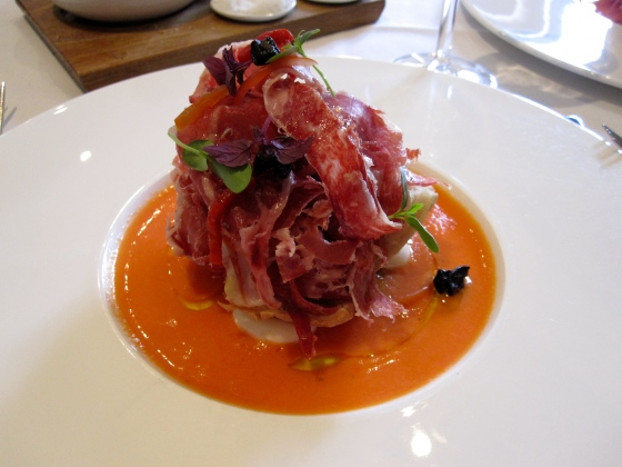 Starter: Iberico ham with candied olives and tomato compote