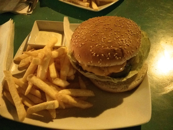 Delicious burger and fries