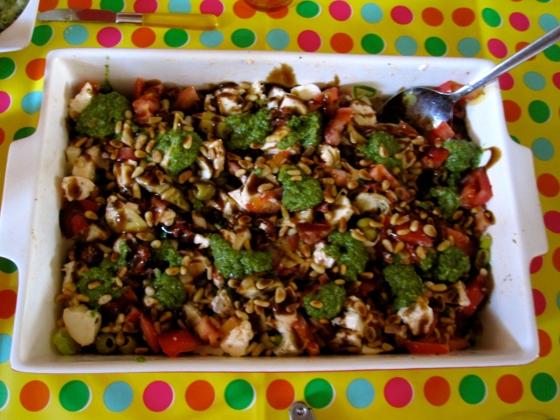 Italian pesto mozzarella salad