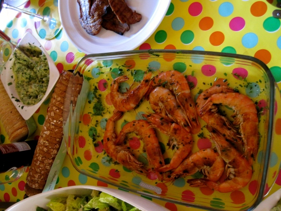 Starters: Shrimp, bacon, bread with herb butter, salads, mmm...