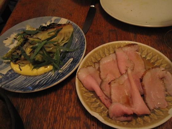 7 & 8: Roasted cabbage with hollandaise and tarragon served with Danish organic pork