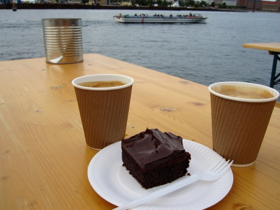 We finished our lunch with coffee and a brownie overlooking the water