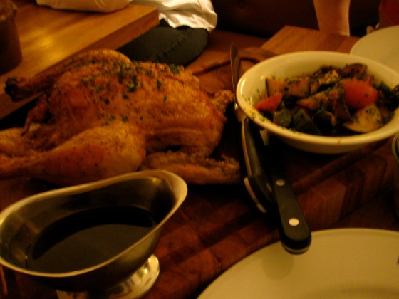 We split the chicken from Hopballe Mill - a corn fed chicken stuffed with herbs, ratatouille, fries, and red wine sauce.