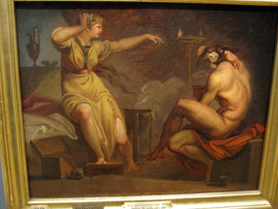 "This painting made Koen and I laugh a little too loudly in the quiet museum. ""Fotis sees her Lover Lucius Transformed into an Ass. Motif from Apeleius' The Golden Ass"" Nicolai Abildgaard 1809"
