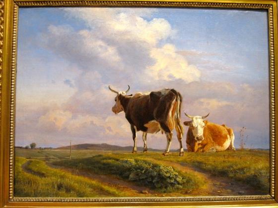 """""""Two Cows in an Open Field"""" Johan Thomas Lundbye 1845"""