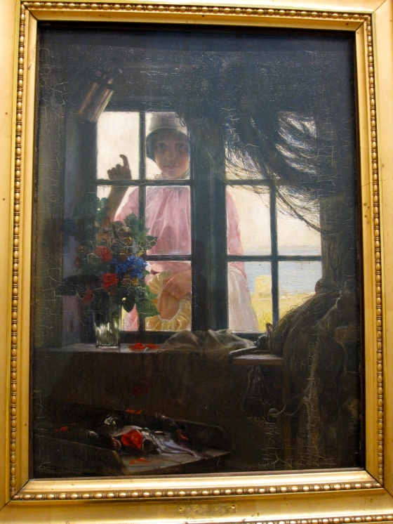 """After the Bath. A Young Girl Knocking at the Fisherman's Window"" Carl Bloch 1884"
