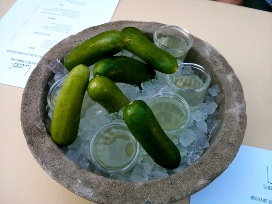 Cucumbers with a seeweed infused gin shot