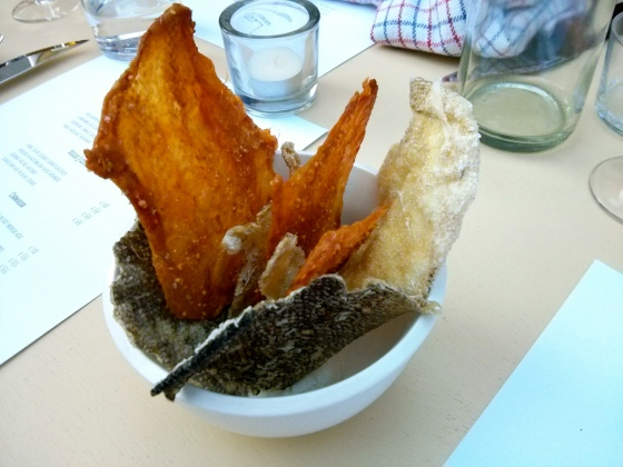 Snacks #1: Chicken skin with mustard seeds and cod skin with smoked cheese dip