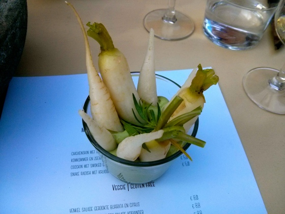 Snake Radishes with an Herb Dip