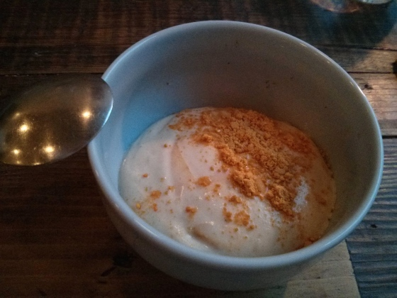 Junket mousse with chamomile and sea-buckthorn