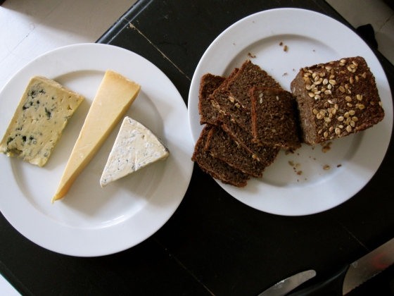 Back at the apartment - Danish cheese with rye bread