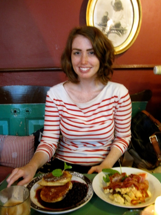 Me with my giant brunch - couldn't decide so I ordered the blueberry pancakes and the scrambled eggs with bacon!