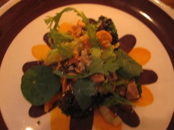 Braised veal tongue, gooseberries, pickled chanterelle mushrooms and grilled broccoli